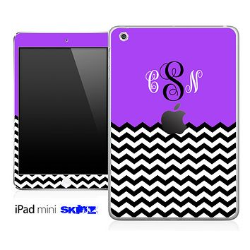 Custom Monogram Purple and Chevron Skin for the iPad Mini or Other iPad Versions