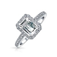 Emerald Cut Pave CZ 925 Silver Vintage Style Engagement Ring 1.5ct | Bling Jewelry