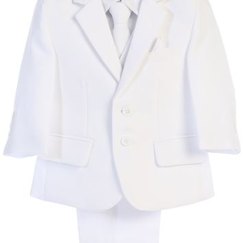 White 5pc Husky Boys Two Button Suit with Vest 8H-20H