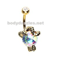 Golden Dragon's Claw Belly Button Ring Navel Ring 14ga