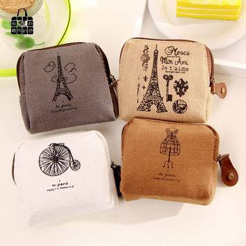 RoseDiary Coin purses,Restoring ancient ways Paris memory canvas coin purses child women change purse,lady zero wallets bag