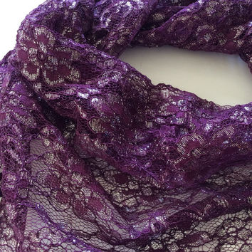 Plum Purple Lace scarf, Holiday gift for her, Boho scarf, Christmas Gift, Coworker Gift, Floral lace shawl, Boss gift, Under 15 Gift