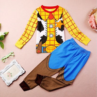 Toy Story Cosplay Sheriff Woody Baby Kid Boy Cartoon Homewear Sleepwear Pajamas