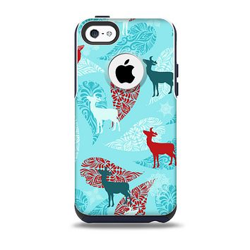 The Blue Fun Colored Deer Vector Skin for the iPhone 5c OtterBox Commuter Case