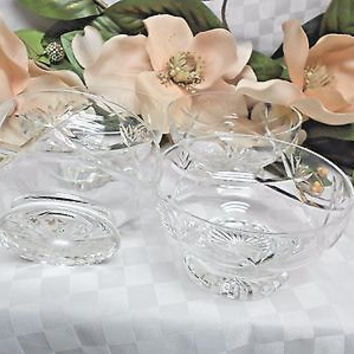 Crystal 24% lead Glass Cut Pineapple set of 4 heavy footed Dessert bowls