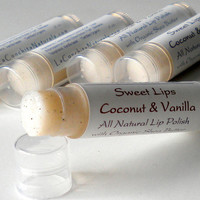 Vanilla Sugar Lip Scrub - All Natural Lip Polish with Shea Butter for Super Soft, Kissable Lips
