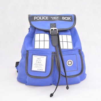 Doctor Who Backpack Canvas Printed Cartoon Dr Who Tardis Buckle Slouch Children School bag Police Box mochila String Backpacks