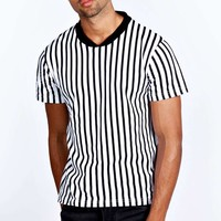 Striped T Shirt with Baseball Ribbed Collar