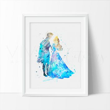 Princess Aurora & Prince Phillip Watercolor Art Print