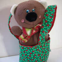 Delightfully Sweet Gift Set Green Holly and Hearts Teeny Tote with Plush Teddy