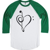 Music Love-Unisex White/Evergreen T-Shirt