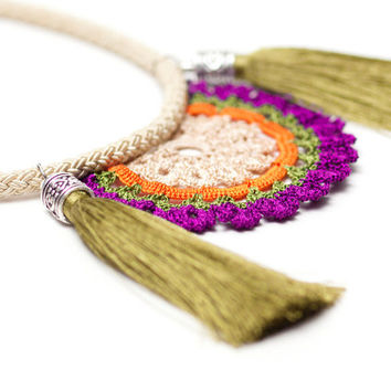 Bohemian Jewelry / Tassel Necklace / Crochet Statement Necklace / Ivory Green Orange Purple Blue / Tassel necklace/ Boho Chic/ FREE SHIPPING