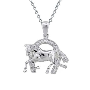 Horseshoe Thoroughbred Horse Pendant Equestrian Necklace Silver