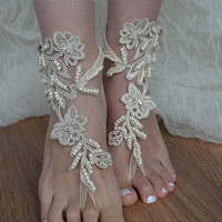 Champagne, Free ship, barefoot sandals, Beach wedding shoes, bangle beach anklets, barefoot sandals, bridal bride bridesmaid, uniontouch