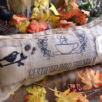 Rustic lumbar burlap pillow, burlap bird on branch coffee pillow, cafe pillows