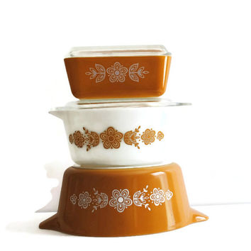 PYREX Butterfly Gold Cinderella Casseroles and Refrigerator Dish - (#500.81)