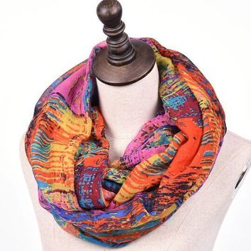 Mixed Color Oil Paint Infinity Fashion Scarf