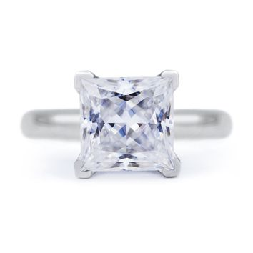 Princess Moissanite 4 Prongs FANCY Solitaire Ring