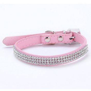 3 Rows Bling Rhinestone Small Pet Dog PU Leather Buckle Cute Cat Crystal Collar