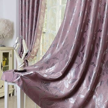 Customized Quality Fashion Thickening Suede Rustic Leaves Full Shade Window Curtain Blackout Blind