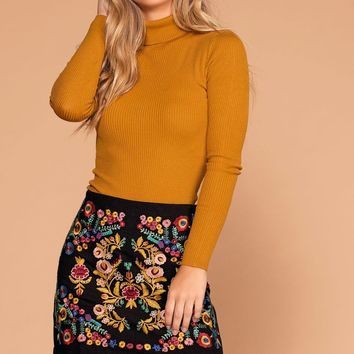 Harvest Embroidered Black Mini Skirt