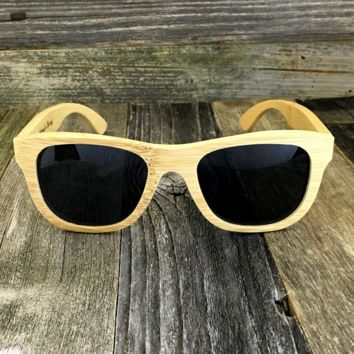 Bamboo Wood Sunglasses with Polarized Lens - Natural Bamboo Wood Frame Wayfarers