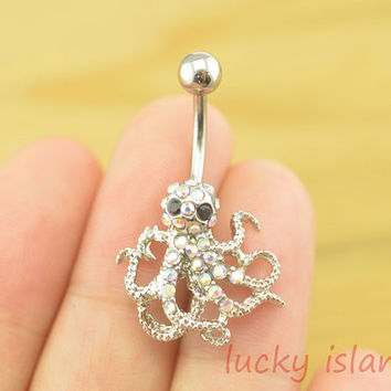 octopus belly button rings,octopus bellybutton jewelry,octopus belly button rings,navel ring,piercing belly ring,body piercing bellyring