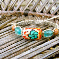 Flower Hemp Bracelet Summer Hippie Macrame Bracelet Friendship