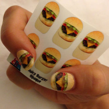 JUICY HAMBURGER NAILS fun water slide decals