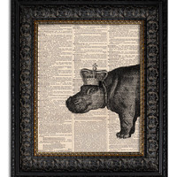 HIPPO WITH CROWN Dictionary Art Print