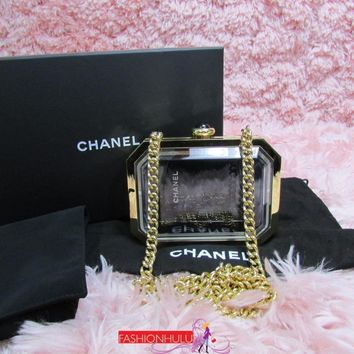 Auth RARE CHANEL Gold Premiere Watch Minaudiere Evening Bag Clutch Plexiglass