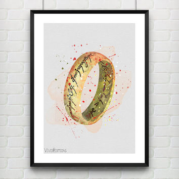 One Ring Poster, The Lord of the Rings Watercolor Art Print, Kids Decor, Boy's Room, Gift, Wall Art, Not Framed, Buy 2 Get 1 Free! [No. 1-6]