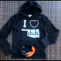 Black & white I heart Oklahoma State pocket hoodie | Royce Clothing