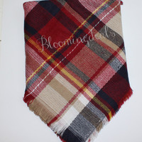Blanket Scarf Oversized Wine, Navy, Tan Plaid Tartan Shoulder Wrap Monogrammed Winter Scarf Personalized Christmas Gift Under 30 Dollars