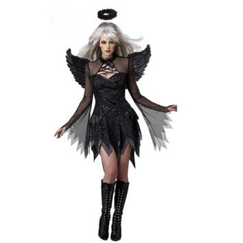 Women's Sexy Gothic Fallen Angel Adult  Costume Fancy Party Dress
