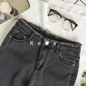 thin high waist jeans female grey and black  legging feet pencil pants women Long jeans