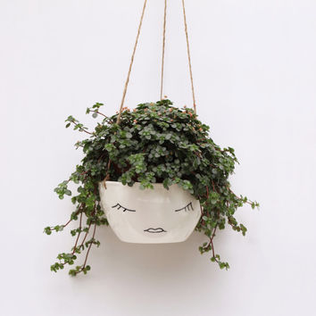 White Ceramic Hanging Planter // Face Plant Pot // Character // Modern Scandinavian Design // Botanical // Black and White Minimalist
