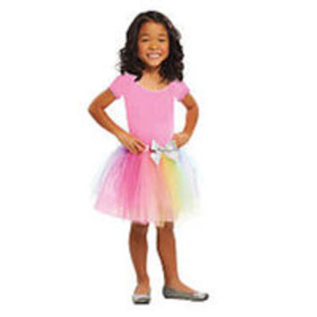 Dream Dazzlers Rainbow Tulle Tutu with Satin Bow Accent