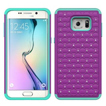 Galaxy Note 5 Case, Crystal Rhinestone Studded Hybrid Dual Layer Shock Absorbent Case for Samsung Galaxy Note 5 - Purple/Teal