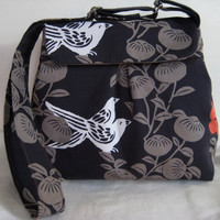 Pleated Messenger Bag  in Charcoal with Bird and by moxiebscloset