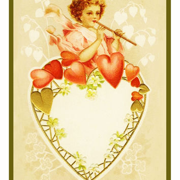 Victorian Valentine Cupid on a Heart Counted Cross Stitch or Counted Needlepoint Pattern