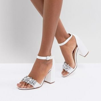 London Rebel Bridal Barely There Satin Block Heel Sandal at asos.com