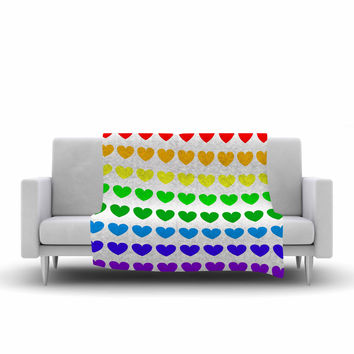 "NL Designs ""Rainbow Hearts"" Multicolor Love Fleece Throw Blanket"