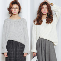Cut Out Long Sleeve Knit Sweater