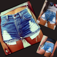 2016 New Fashion Women's Cool Denim Wash Distressed American Flag Low Waist Short Pants Jeans Trousers Hot Pant