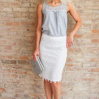 Gardenia Lace Pencil Skirt - White