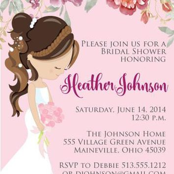 Floral Bride Bridal Shower Invitations