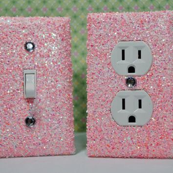SET Chunky BUBBLEGUM Glitter Swichplate Outlet Covers Any Styles
