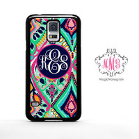 Monogram Samsung Galaxy S5 Case Colorful Abstract, custom Lilly Pulitzer Inspired monogram Galaxy S5 case, Galaxy Note 3 Case S4 Mini Cover