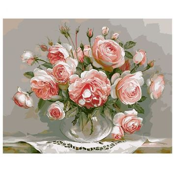 Digital Oil Painting On Canvas handwork gift set of pink flower 40x50cm frameless  handwork Pictures Painting By Numbers szyh030